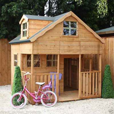 7ft DOUBLE STOREY WOODEN WENDY GARDEN PLAYHOUSE KIDS WOOD PLAYHOUSE NEW UN USED