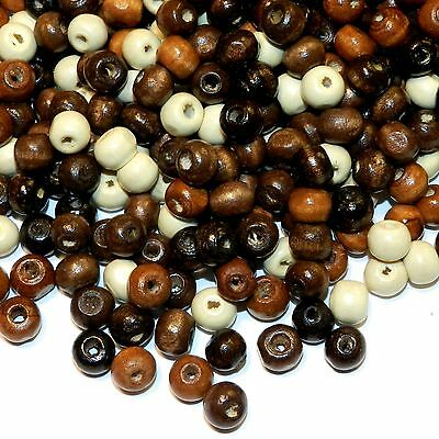 W629L Assorted Brown Earthtone Mix 8mm Round Rondelle Wood Beads 50-grams