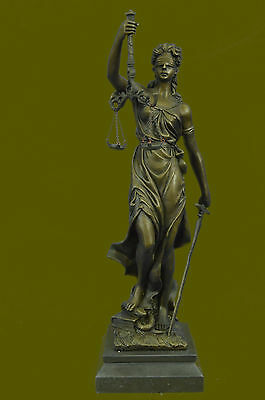 Blind Justice Law Lady Scale Bronze Sculpture Figurine Statue Brown Patina