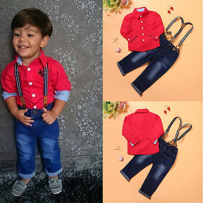 Toddler Kids Baby Boys T-Shirt Tops +Braces Trousers Overall Outfits Clothes Set