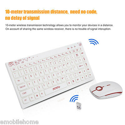 New White&amp Red Slim Mini 2.4G Wireless Keyboard and Mouse Set