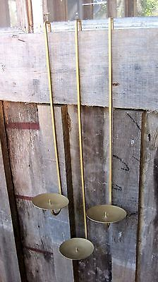Set Of Three Vintage Wall Sconce Pillar Candle Holders Home & Garden Lights