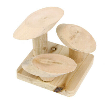 Natural Wooden Mushroom Stair Ladder Stand Play Platform Toy for Rat Hamster