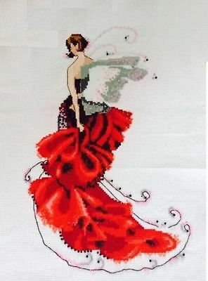 "2016 MAGAZINE NEW Finished completed handmade Cross stitch"" Red Skirt Fairy"""