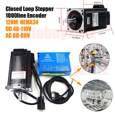 12NM NEMA34 Hybrid Servo Closed Loop Stepper Motor Drive 86J18156EC-1000+2HSS86H