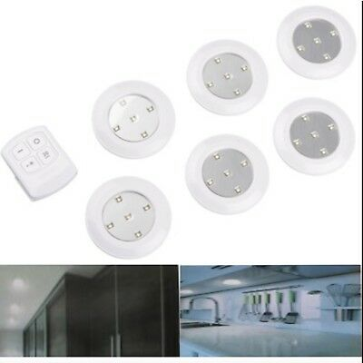 6pc 10cm Wireless Remote Control LED Light Spotlight Battery Operated Battery