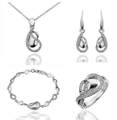 Bridesmaid Jewelry Set Crystal Necklace,Earring,Bracelet & Ring Bridal Jewellery