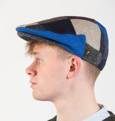 3d9e23eaa7f IRISH ARAN DONEGAL TWEED FLAT BLUE PATCH CAP HAT DRIVING PATCHWORK HATMAN  sale