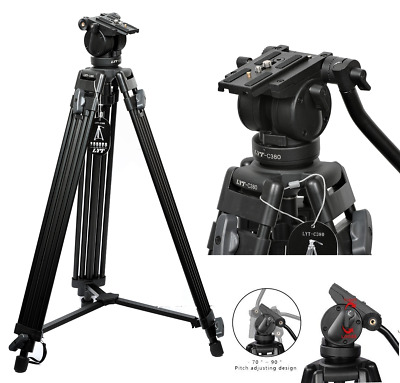 LYT-C380 Professional Heavy Duty DV Video Camera Tripod Fluid Pan Head 72 Inch