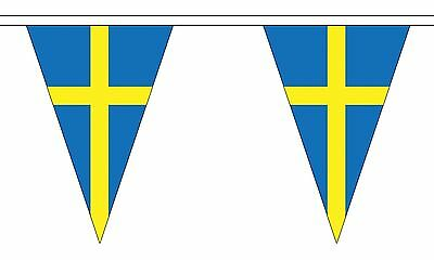 SWEDEN 20 metre TRIANGLE BUNTING 30 FLAGS flag TRIANGULAR 54 FLAGS SWEDISH