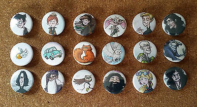 """Harry Potter Button Pins - Set of 18 - 1 1/4"""""""