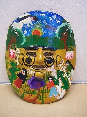 1960s Clay Mask - Painted Village Scene with Farmers - Mexico
