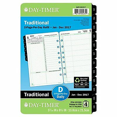 Day-Timer Daily Planner Refill 2017, Two Page Per Day, Traditional, 5-1/2 x Desk