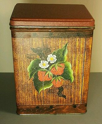 Metal Tin Lid Canister J.L. Clark Manufacturing Vintage Strawberry Canister Wood