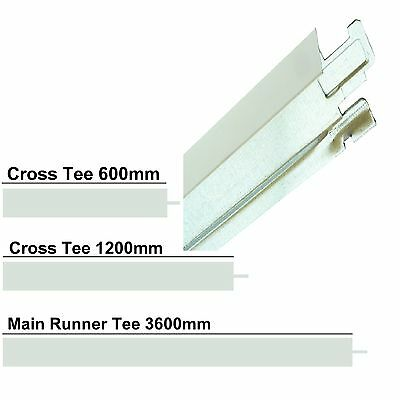 WHITE BLACK GOLD CHROME BRUSHED CROSS TEE SECTION GRID HOOK T24 3600 1200 600 mm
