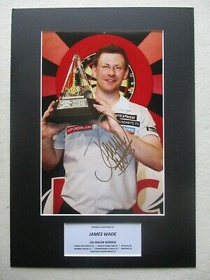 "James Wade ""the Machine"" Genuine Hand Signed Darts A3 Mounted Photo Display- Coa"