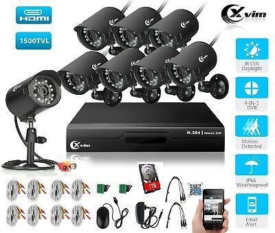 XVIM 8CH DVR 1080P Home Security Camera System Outdoor Surveillance CCTV kit 1TB