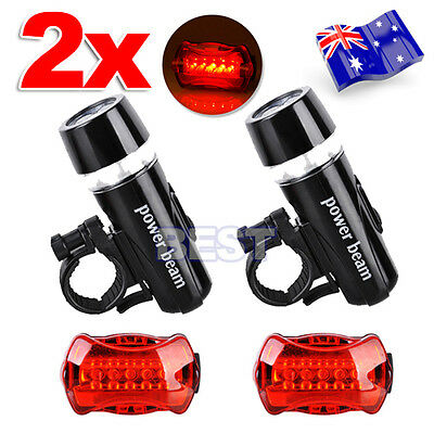 2x Front Head Light Headlight Lamp Rear Tail Flashlight Torch LED Bike Light Set