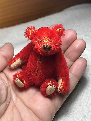 Miniature Hand Sewn 3in. Alfonso RED Mohair Teddy Bear by Lori Wright