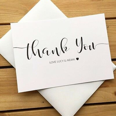 10 Personalised Wedding Thank You Note Cards with Envelopes (TY0001)