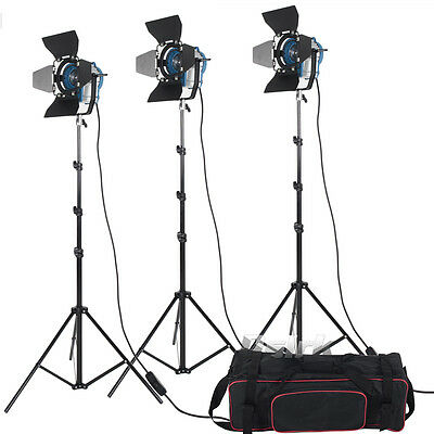 3 X 300W Studio Fresnel Tungsten with dimmer control Spotlight Video Light Kit