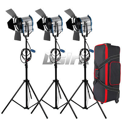 3 X 1000W Studio Fresnel Tungsten Dimmer Control Spotlight  Kit with Carry Case