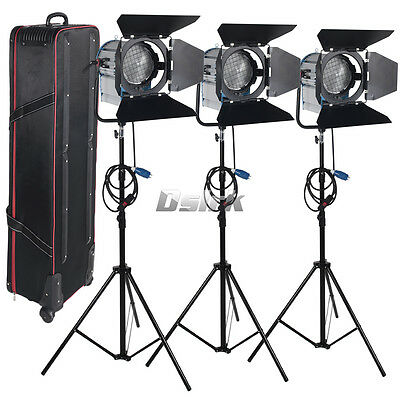 3 X 2000W Studio Fresnel Tungsten with dimmer control Spotlight Video Light Kit