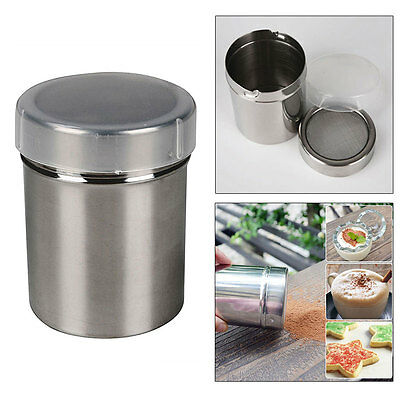 Stainless Chocolate Cocoa Flour Shaker Icing Sugar Salt Powder Baking Sifter+Lid