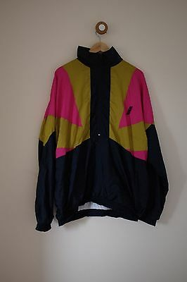 Vintage black/yellow/pink shell suit jacket L