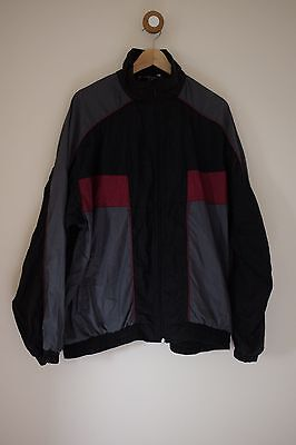 Vintage black/silver/red shell suit jacket XL
