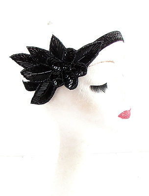 Black Sequin Beaded Headband Headpiece Vintage 1920s Great Gatsby Flapper 593