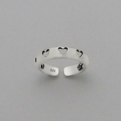 Adjustable 925 Sterling Silver Heart Flower Infinity double Plain Band Toe Ring