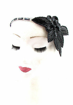 1920s Black Silver Sequin Headband Headpiece Vintage Great Gatsby Flapper 594