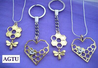 YOU PICK CHARM Bumble Bee on Heart or Honeycomb KeyChain Keyring Necklace