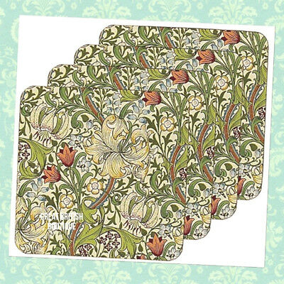 """Just In! Lovely William Morris Design 4 Coasters Set """"golden Lily"""" - Boxed"""