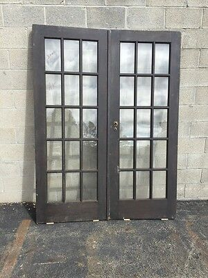 "Cm 18 One Pair Antique French Doors Pine 60"" X 79.5"""