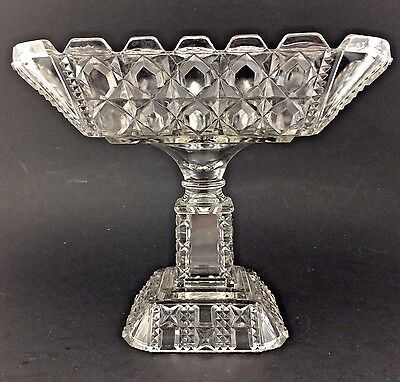 Antique Eapg Glass Footed Compote Pedestal Bowl Valencia Waffle  Adams Glass Co