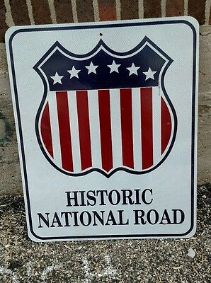 Reclaimed Vintage Industrial Historic National Road Sign, won in Silent auction