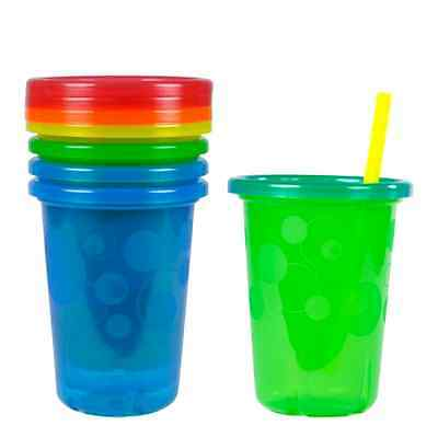 Colorful Take Toss Straw Cup Baby Toddler Feeding Kids Drink Go Travel 10oz 4Ct