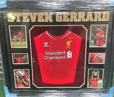 Framed Steven Gerrard Signed Shirt Liverpool Legend Captain England COA AFTAL