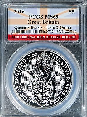 2016 Great Britain 2oz Silver Queens Beast Lion PCGS MS69 UK Bullion COIN