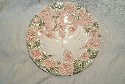Beautiful Silvestri Plate, Doves and Pink Roses.
