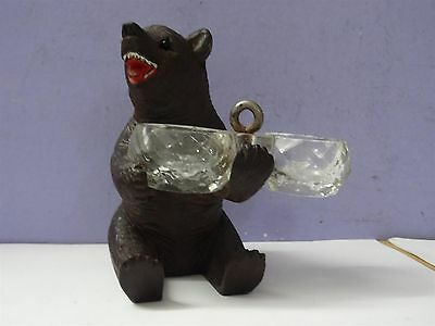 Antique Black Forest Hand Carved Bear with Double Open Salt, Wood
