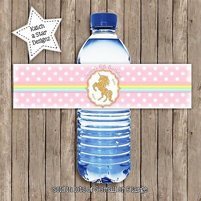 Unicorn Rainbow Faux Gold Party Peel & Stick Personalised Water Bottle Labels