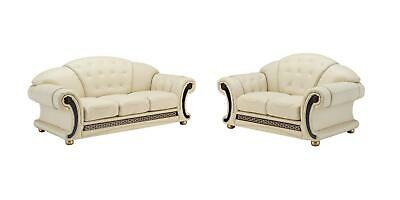 Versace Cleopatra Cream Italian Leather Living Room Sofa Loveseat Chair 2 pc Set