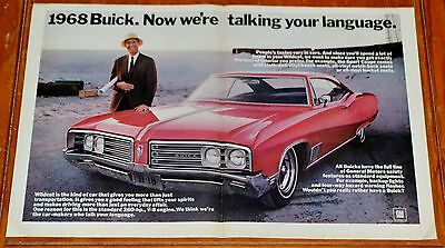 Awesome Red 1968 Buick Wildcat Coupe Large Ad / Vintage 1960S American Auto
