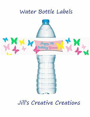 Butterfly Water Bottle Labels, Water bottle labels, Butterfly, Birthday