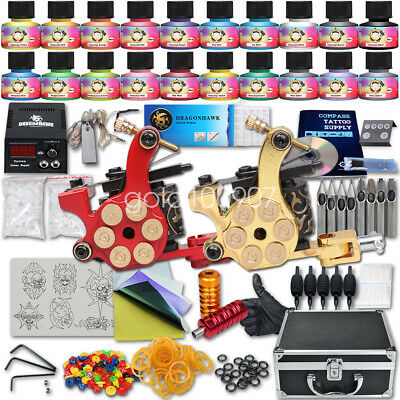 Tätowierung Komplett Tattoo Kit Set 2 Tattoomaschine 20 color inks HW-9GD-13CE