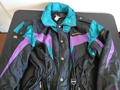 DESCENTE Winter Ski Coat Jacket VINTAGE Mens size Medium Black Teal Purple CLEAN