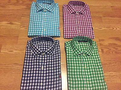 Polo Ralph Lauren 100% linen gingham plaid spread collar shirt green blue purple
